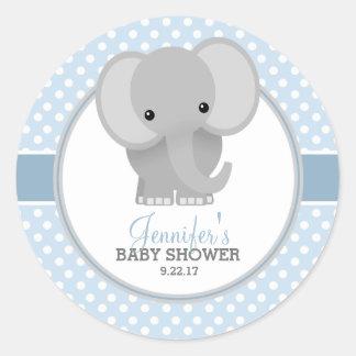 Baby shower (bleu) d'éléphant de bébé sticker rond