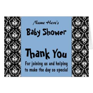 Baby shower bleu et noir et blanc de damassé carte
