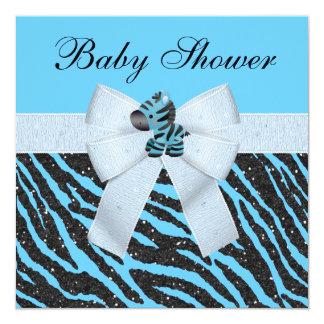 Baby shower bleu mignon de scintillement de zèbre carton d'invitation  13,33 cm