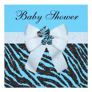 Baby shower bleu mignon de scintillement de zèbre faire-part personnalisé