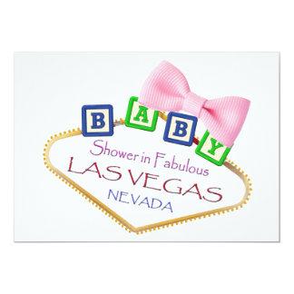 Baby shower dans l'invitation de FILLE de Las Carton D'invitation 12,7 Cm X 17,78 Cm
