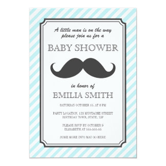 Baby shower de coup de moustache de rayures de carton d'invitation  12,7 cm x 17,78 cm