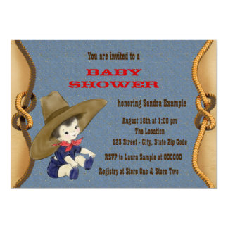 baby shower de cowboy carton d 39 invitation 11 43 cm x 15 87 cm