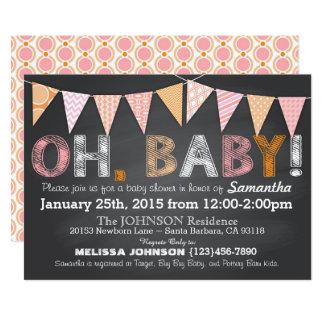 Baby shower de fille de bannière d'étamine de carton d'invitation  12,7 cm x 17,78 cm