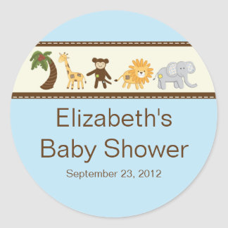 Baby shower de garçon bleu d'animaux de safari de sticker rond