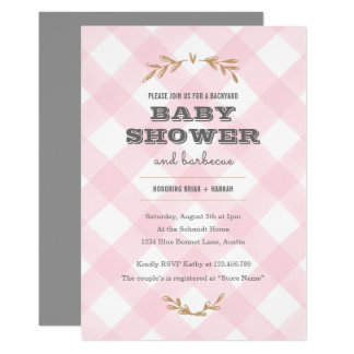 Baby shower de guingan de pays carton d'invitation  12,7 cm x 17,78 cm
