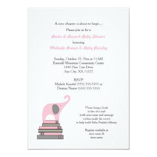 Baby shower de livre d'éléphant rose/fille brunch carton d'invitation  12,7 cm x 17,78 cm