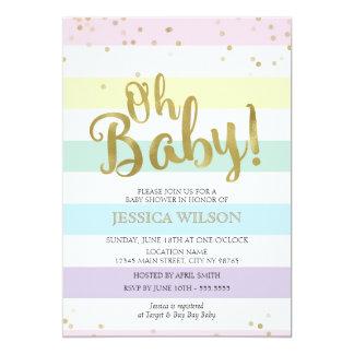 Baby shower de rayures d'arc-en-ciel de feuille carton d'invitation  12,7 cm x 17,78 cm