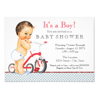 Baby shower de tricycle de garçon carton d'invitation  11,43 cm x 15,87 cm