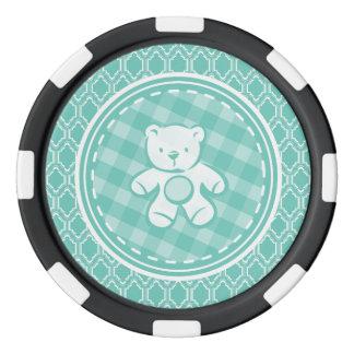 Baby shower d'ours de nounours de turquoise d'Aqua Rouleau De Jetons De Poker
