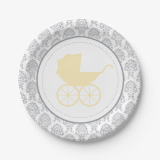 Baby shower élégant antique de la damassé | de assiettes en papier