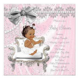 Baby shower ethnique de fille de chaise grise rose carton d'invitation  13,33 cm