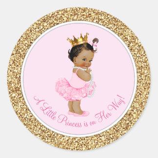 Baby shower ethnique de princesse Pink Gold de Sticker Rond