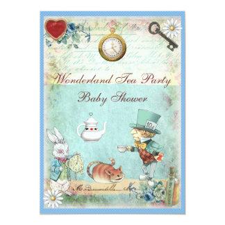 Baby shower fou de thé du pays des merveilles de carton d'invitation  12,7 cm x 17,78 cm