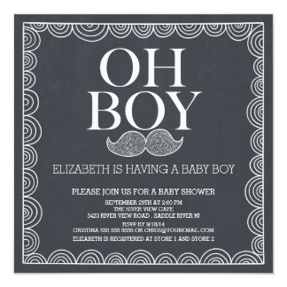 Baby shower Invitatation de moustache de tableau Carton D'invitation 13,33 Cm