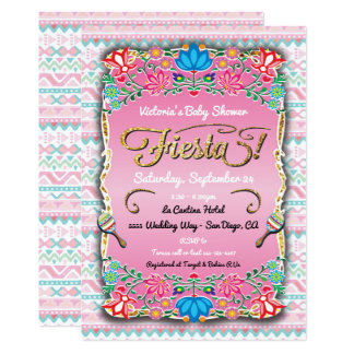 Baby shower mexicain floral de fiesta carton d'invitation  12,7 cm x 17,78 cm