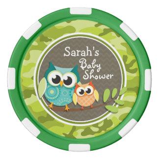 Baby shower mignon de hibou ; camo vert rouleau de jetons de poker