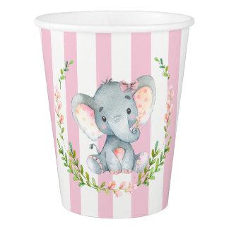 Baby shower mignon d'éléphant de fille gobelets en papier