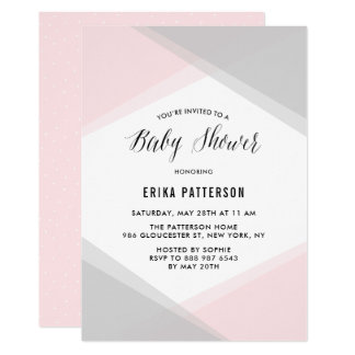 Baby shower moderne de gradient abstrait de rose carton d'invitation  12,7 cm x 17,78 cm
