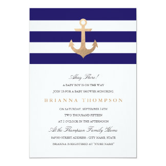 Baby shower nautique de marine carton d'invitation  12,7 cm x 17,78 cm