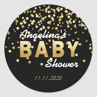 Baby shower noir unique et moderne de confettis sticker rond