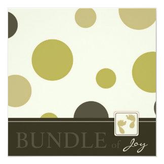Baby shower olive d'impression de point carton d'invitation  13,33 cm