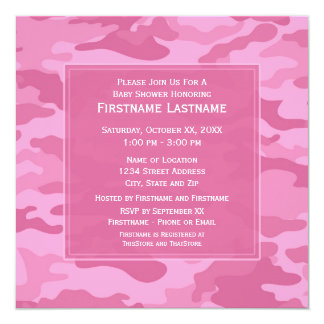 Baby shower ou partie rose de Camo Carton D'invitation 13,33 Cm