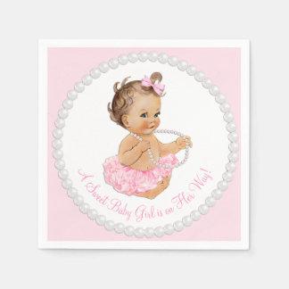 Baby shower rose de perle de ballerine de tutu serviettes en papier