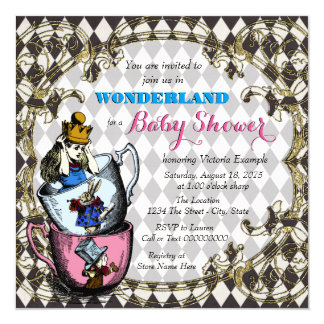 baby shower vintage du pays des merveilles d 39 alice carton d 39 invitatio