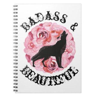 Badass et beaux loup et carnet noirs de roses