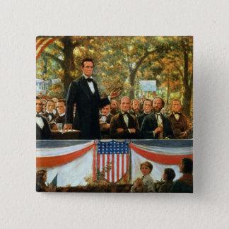 Badge Carré 5 Cm Abraham Lincoln et Stephen A. Douglas