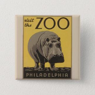 Badge Carré 5 Cm Affiche vintage Philadelphie de zoo de WPA