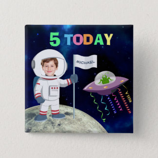Badge Carré 5 Cm Âge fait sur commande d'anniversaire d'astronaute