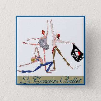 Badge Carré 5 Cm AIMANT de BALLERINE de BALLET Le CORSAIRE PIRATE