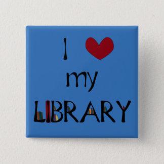 Badge Carré 5 Cm Aimez ma bibliothèque - changez la couleur