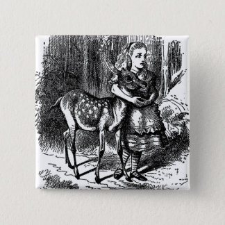 Badge Carré 5 Cm Alice vintage dans la copie de bambi de faon de