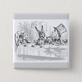 Badge Carré 5 Cm Alice vintage dans le Pin de bouton de thé du pays