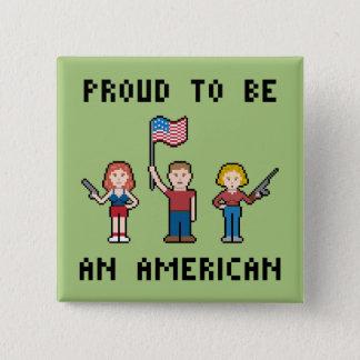 Badge Carré 5 Cm Américain fier de pixel