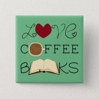 Badge Carré 5 Cm Amour, café, livres - changez la couleur