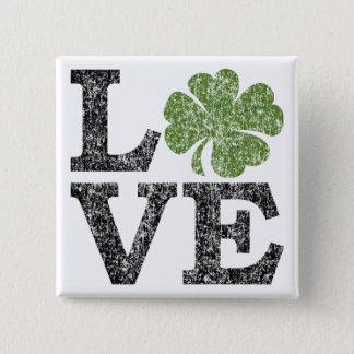 Badge Carré 5 Cm AMOUR de Jour de la Saint Patrick avec le shamrock