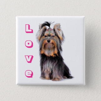 Badge Carré 5 Cm Amour Yorkie de rose de chiot de Yorkshire Terrier