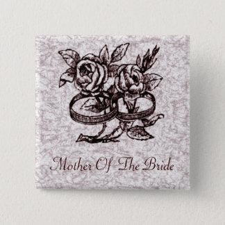 Badge Carré 5 Cm Anneaux de mariage démodés autour des roses