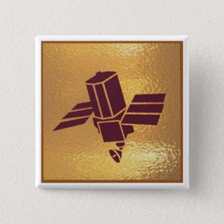 Badge Carré 5 Cm Antenne robotique satellite - base d'or d'icône de