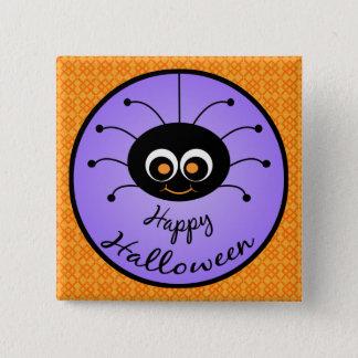 Badge Carré 5 Cm Araignée heureuse de Halloween Toon
