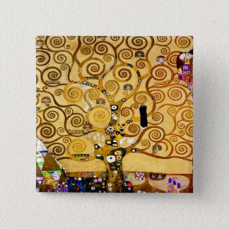 Badge Carré 5 Cm Arbre de Gustav Klimt d'art Nouveau de la vie