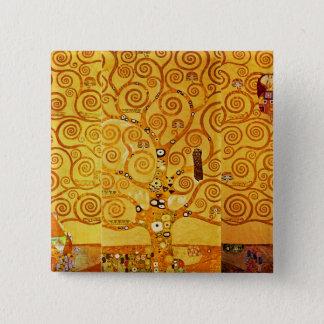 Badge Carré 5 Cm Arbre de Gustav Klimt de copie d'art de Nouveau