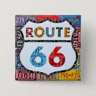 Badge Carré 5 Cm Art de plaque minéralogique de l'itinéraire 66 par