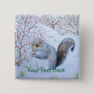 Badge Carré 5 Cm art gris mignon de faune de scène de neige