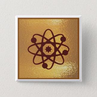Badge Carré 5 Cm Atome SIFI - or d'ion de Proton d'électron d'icône