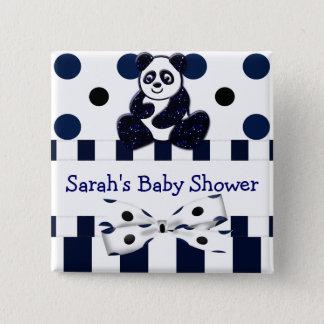 Badge Carré 5 Cm Baby shower bleu de points et de rayures de